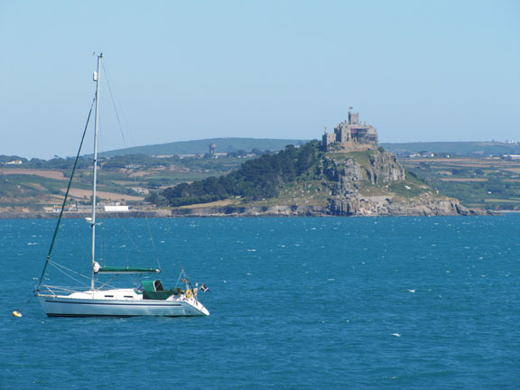 St. Michael's Mount with sail boat