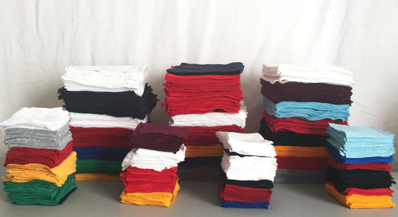 Squares of fabric cut from t-shirts