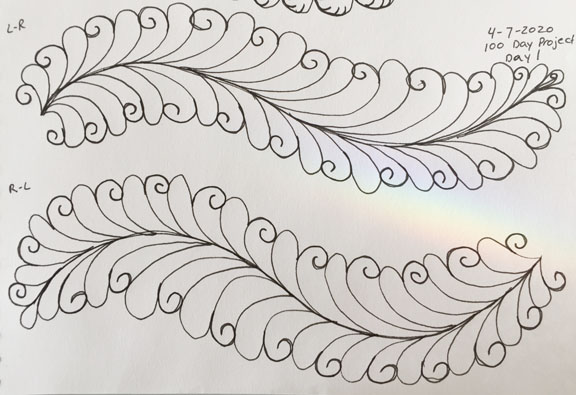 Hand drawing in black ink on white paper of a feather quilting motif with a swirl added in every other feater